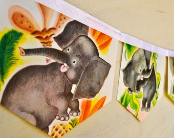 SAGGY BAGGY ELEPHANT Banner Vintage Little Golden Book Bunting Children Paper Decoration nursery story book banner eco friendly baby shower