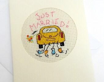 Wedding/Just Married Blank Cross Stitch Card