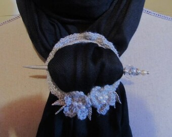 Scarf Holder....Silver Tones...Great Scarf Jewelry