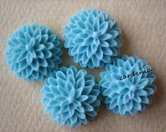4PCS - Light Blue- Chrysanthemum Cabochons - 15mm - Matte Finish - Jewelry Findings by ZARDENIA