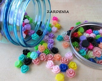Mini Roses in a Glass Jar - 300 Pieces - Blue Glass Jar - Mini Roses Assortment - Limited Edition