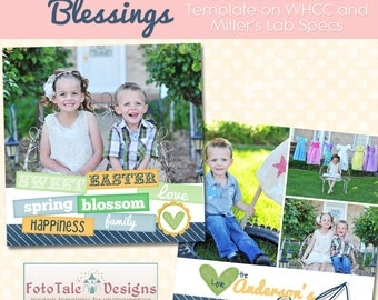 INSTANT DOWNLOAD - Easter Blessings- Card No 4. - 5x5 double-sided photo card template