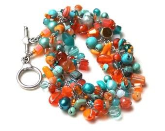 tangerine mint beaded bracelet / OOAK teal turquoise & carnelian gemstones