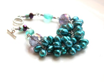 teal pearl bracelet / purple czech glass beaded jewelry / wirework wire wrapped spring gift for women /