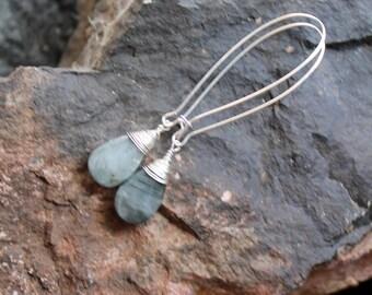 geologist earrings. sterling silver milky grey gemstone handmade wire wrapped earrings. FREE domestic SHIPPING gemstone earrings.