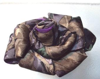 SALE - Repurposed Neck Tie Brooch