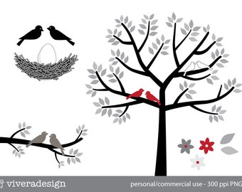 Birds, Tree, Nest and Egg in Black, White, Grey, and Red