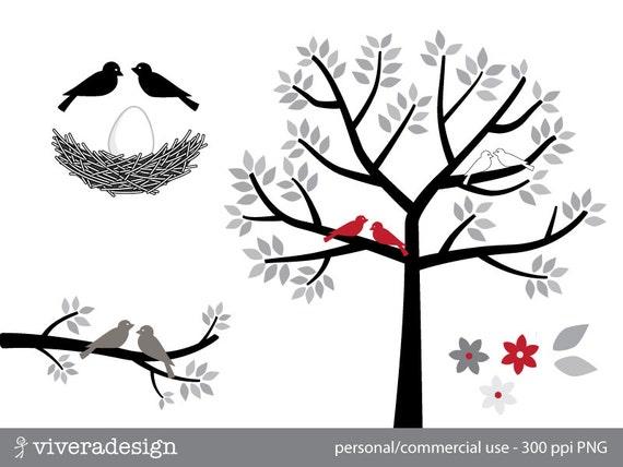 v gel baum nest und ei in schwarz wei grau und rot. Black Bedroom Furniture Sets. Home Design Ideas