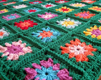 Crochet Afghan Blanket Emerald Green Granny Squares Made to Order