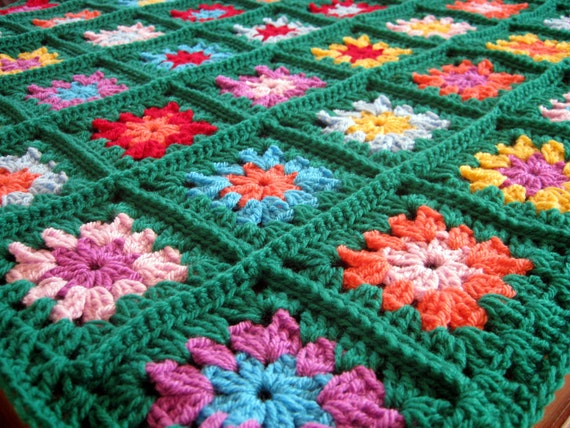 HAPPY Emerald Green Granny Square Crochet Blanket Nursery