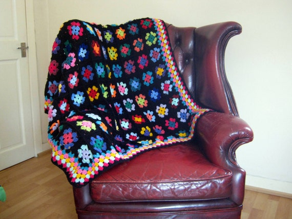 SALE Ava Classic Traditional Black Granny Square Crochet Blanket Afghan Throw