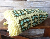 Vintage Granny Square Fringed  Afghan Handmade Lovely Colors Yellow