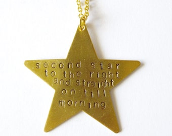 Second Star to the Right Necklace Peter Pan Quote Jewelry Wendy Darling Charm Pendant Neverland Accessories Book Lover Womens Gift For Her
