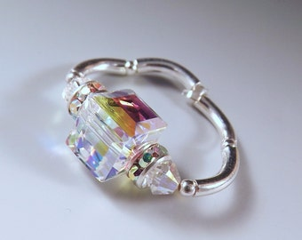 Best Seller- Swarovski Crystal 8mm Cube Stretch Fit Stretchy Ring- Swarovski Crystal Aurora Borealis-Prom Jewelry