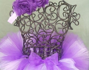 Newborn Lavender / Purple tutu with Purple Shabby Flower Headband