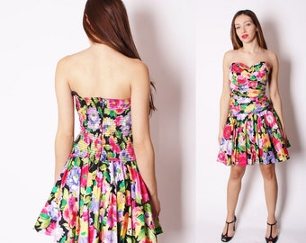 Vintage Strapless Bold Floral Prom Dress / Cocktail Party Dress / Tropical Flowers / Summer Fashion / Soft Grunge / 1824