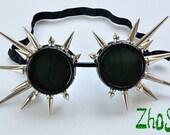 Black Cyber Goth Goggles Glasses 30 Spikes CyberPunk Industrial Noise Dark Wave