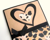 Handmade Valentine Card Love Card or Note Card Black and Tan Cheetah Print Hearts Note Card Blank Inside