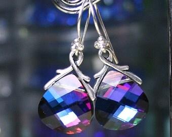 Swarovski Briolette Crystal Earrings in Bermuda Blue - Blue Rainbow - Swarovski Crystal and Sterling Silver
