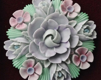 Vintage - Handcast - Large Summer bouquet  Pin Brooch - Made in England - c1970s  (No:22)