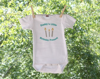 Daddy's Little Birthday Present with Candles - Infant Bodysuit