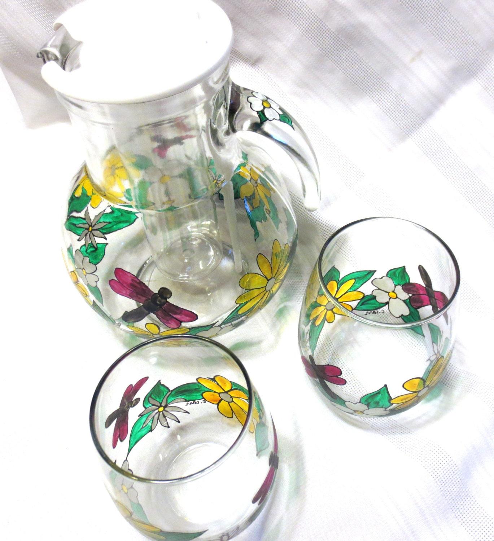 Wine chiller pitcher and stemless wine glasses set spring - Plastic sangria glasses ...