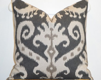 "IKAT - Decorative Pillow Cover - 18"", 17"", 16"" - Oatmeal - Brown - Graphite - Chair Pillow - Cushion"