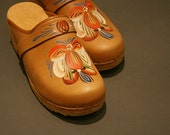Caramel Hand painted Leather Clogs