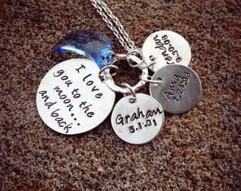 Love You to the Moon...sentiment Mother's Necklace...with 3 personalized tags