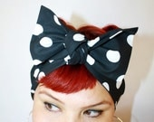 Vintage Inspired Head Scarf, Bow or Bandanna Style, Black with White Polka Dots, Red, Black, Pink, Retro, Rockabilly, Vintage Inspired