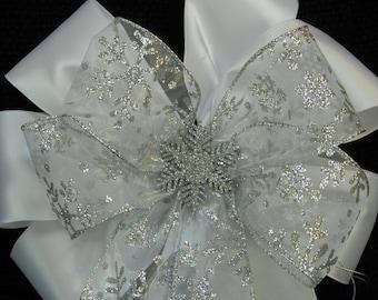Christmas/winter wedding bow White Satin and Silver Snowflake Decorative bow