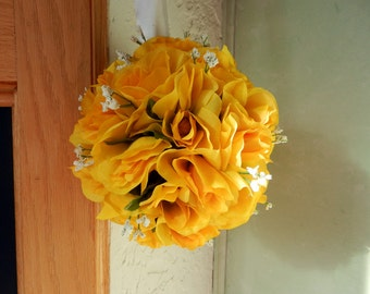 Wedding kissing ball/ Pomander Yellow Roses and Baby's breath