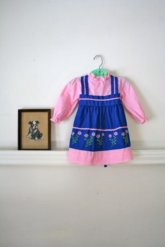 vintage toddler dress - MARY had a little LAMB pinafore dress / 3T