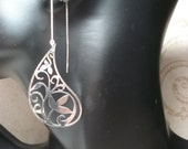 Large Paisley Silver Filigree on Sterling Ear Threads- Threader Earrings-Necklace-FREE SHIPPING To U.S.-