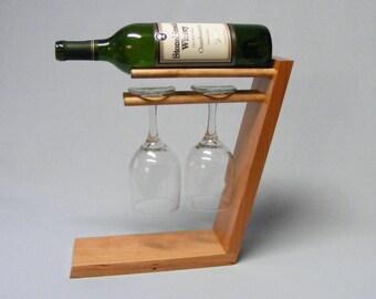 Standing 2 Glass Wine Bottle Holder Cherry.  Anniversary Gift.  Free Shipping.