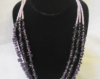 vintage 3 strand amethyst and purple heishi bead necklace