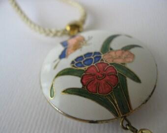 Butterfly and Flowers/ Enamel Pendant/Tassel jewelry/Tassel/Oriental style