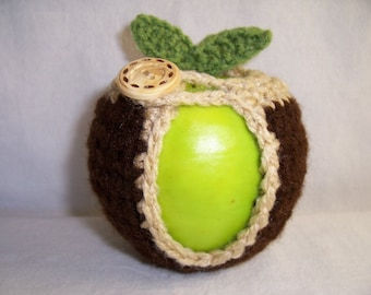Handmade Crocheted Apple Cozy - Crochet Apple Cozy in Coffee Color with Buff Trim