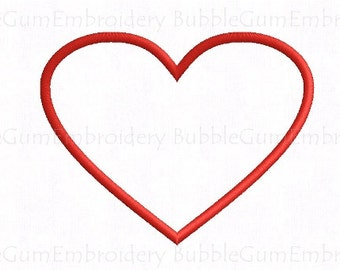 Heart Applique Embroidery Design Instant Download