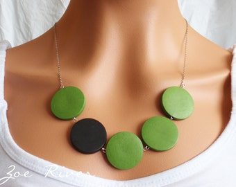 Black and green wooden necklace