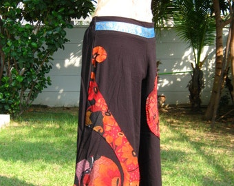 Flowers Love Colorful and Gift  on patchwork cotton pants.
