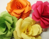 Paper Roses qty 12    4 Inches Flat  any color escort cards name placement cards embellishments Special Order