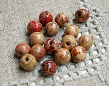 50pcs Wood Beads 10mm Painted Round 10mm Painted Pattern