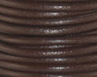 1mm Round Leather Cord Chocolate  : 2 yards 1.82m