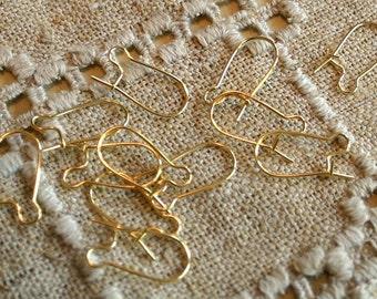 100pcs Earring Finding Kidney Earwire Gold-Plated Brass 21 Gauge 18mm Earhooks