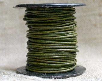1mm Round Leather Cord Dark Green Natural Dye 2 yards 1.83m