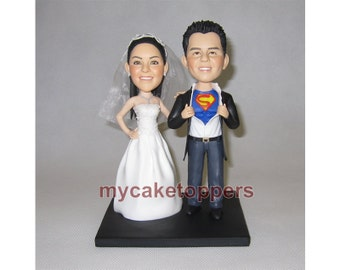 Superhero wedding cake topper, funny cake topper, custom wedding cake topper, superman cake topper, superman, superhero