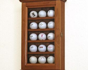 15 Golf Ball Display Case Wall Cabinet Rack Shelves