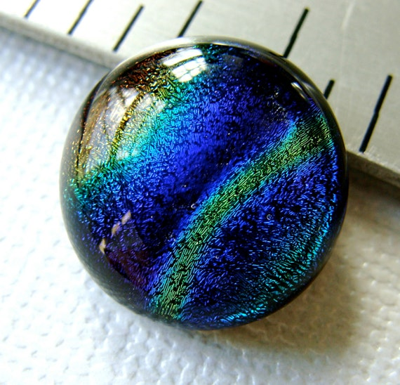 Dichroic Glass Cabochon 16 mm Blue and Gold Rainbow