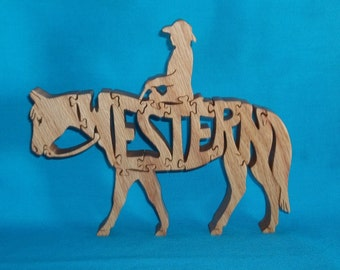 Western Horse Handmade Scroll Saw Wooden Puzzle